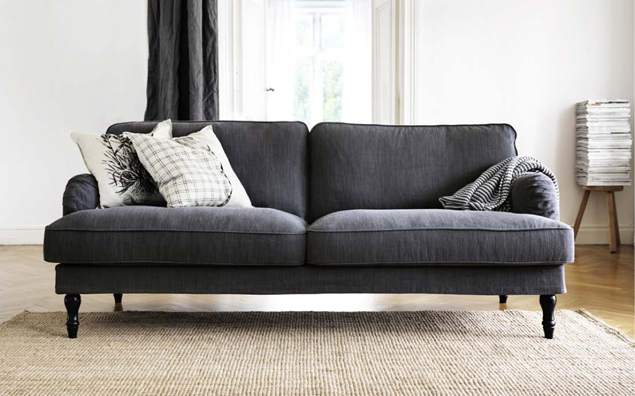 STOCKSUND sofa $599 with removable, washable cotton-polyester cover.